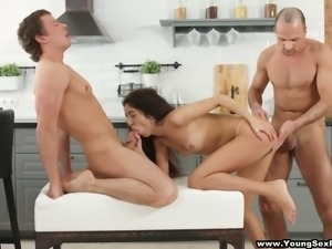 Sexy Leah fucked passionately in provocative threesome video