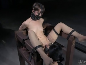 Evil mistress punishes the short-haired chick in a number of ways