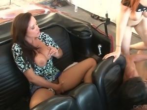 Busty MILF Christina Carter let her man fuck yummy ginger slut in their car...