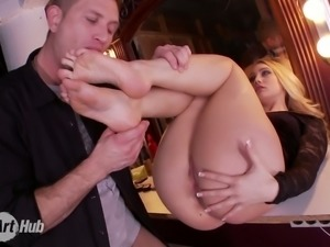 Divine blond beauty AJ Applegate gets banged in the dressing room