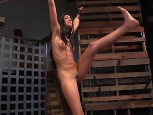 Sexy bondage brunette mouth widened when tortured in BDSM
