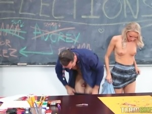 Wild teacher fucks dark haired naughty bitch Audrey Royal and one more sexy...