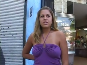 Lusty light haired street walker pleasures hungry stud with solid DT in van