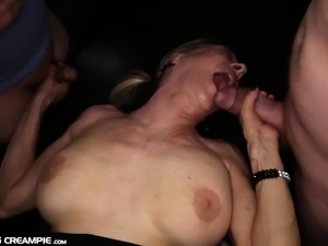 Nasty old Granny Gilf gets gangbanged with creampies