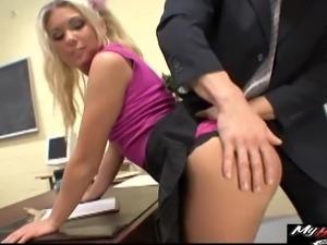 Aubrey Adams is teasing her boss with her absolutely lovely ass