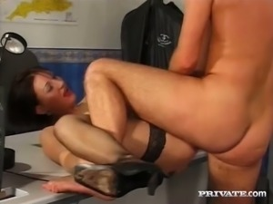 Raven haired wanton secretary in fishnets Michelle had steamy sex with horny...