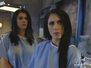 Crazy doctor and his two slutty patients in a threeway