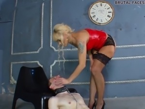 Intellectual femdom fetish blonde displaying her hot ass infront of slave in...
