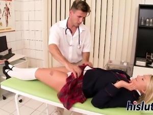 Kinky schoolgirl has her sexy feet creamed