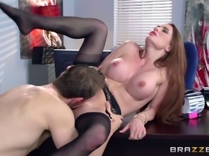Big breasted perfection in a hardcore scene at work