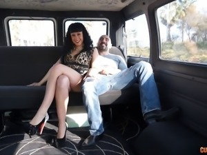 Bald guy provides the sexy dark-haired chick with the car penetration