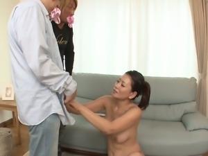 Japanese harlot Rei Kitajima masturbates pussy before threesome fuck