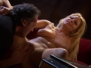 Blonde with a long hair is happy to make a fellow's prick hard