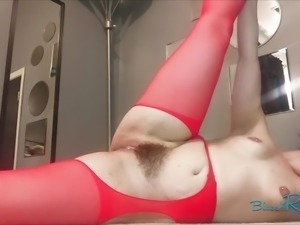 Red Suspender Pantyhose Booty Shaking