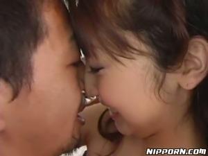 Skilled Asian sucking head gives deepthroat blowjob