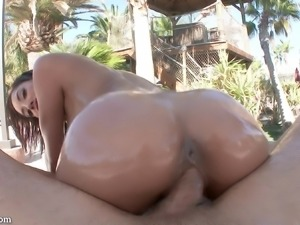 Horny dude gladly penetrates the oiled pussy of the sexy Chloe Amour