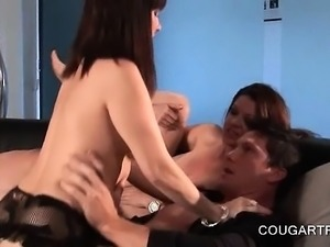 Cougar hot trio fighting over dick in group sex
