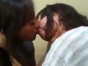 Chubby lesbian bitches French kissing passionately in front of camera