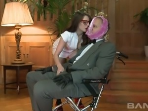 Spoiled 4 eyed hottie Samantha Bentley  attacked her submissive man in face...
