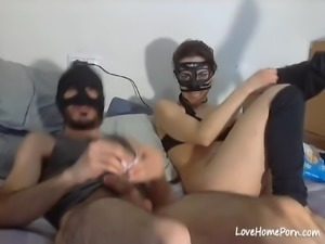 Teen in mask and her boyfriend have anal fuck on webcam ends with a facial