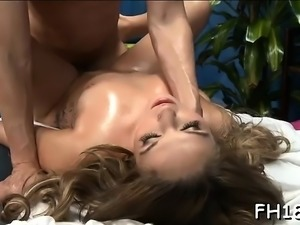 Pleasant babe loves massage and large cock in her twat