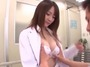 Sexy doctor is happy to be ravished by a randy stud's cock