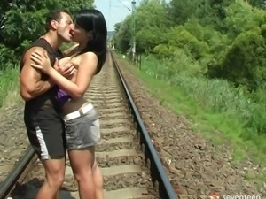 Gorgeous brunette gets her pussy fucked hardcore on the railway line