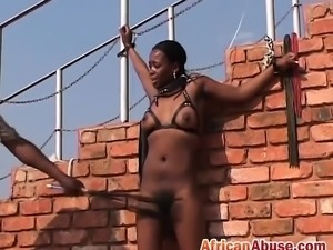 Hairy pussy black African babe tortured bonded