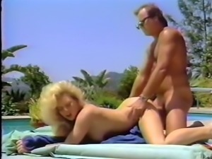 Fine and insatiable busty blonde babe by the pool loves wild sex