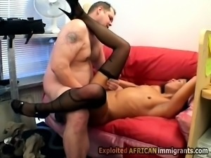 Beautiful ebony secretary gets her little pussy smashed by