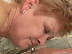 Nasty old slut Nina B gets her hairy muff nailed in various poses tough