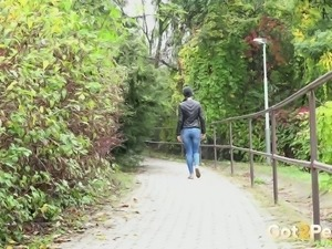Beautiful long legged brunette teen in demins pisses in public places