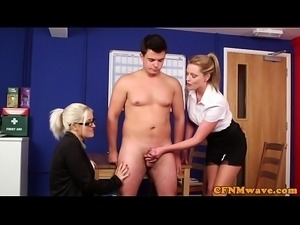 British cfnm femdom jerking cock in office