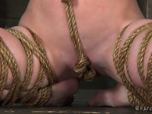 Cute bondage cowgirl spanked and stripped in BDSM porn