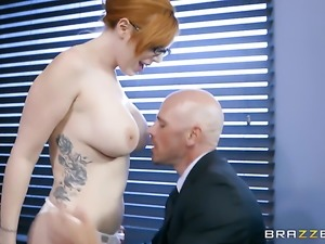 Redhead Lauren Phillips with big knockers and her hard cocked fuck buddy...