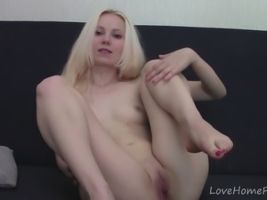 Petite golden-haired lass exhibiting her sexy body