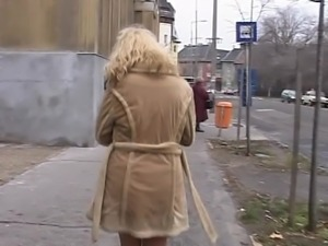 kinky blonde girl risky pissing in real public streets 2