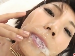Azumi Harusaki swallows big time after great sex