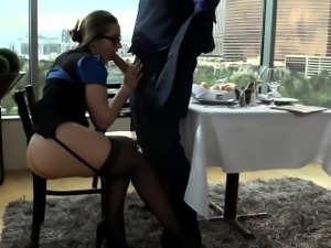 Office tart screwed hard by thick cock in a restaurant