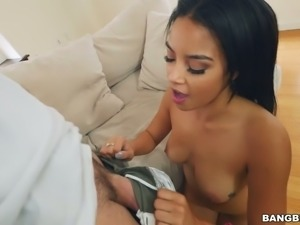 Slim hottie Maya Bikou riding big dick in reverse cowgirl position