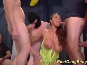 Big natural breast sexy susi Milf in her first extreme groupsex gangbang