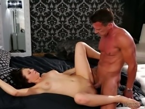 Tattooed petite filth Megan Sage gets her muff drilled in doggy and mish...