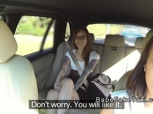 Lesbian female fake taxi driver has oral in public