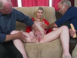 Stacie is pretty, blonde and has a beautiful, hairless pussy. These old guys...
