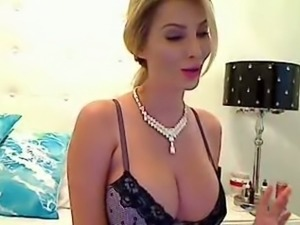 Blonde gorgeous MILFie babe exposed her dope big boobies to me