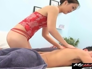 Asian woman spreads her legs for a fellow's massive cock