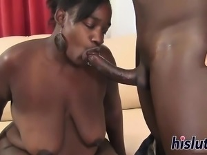 Hot black BBW rides on a BBC