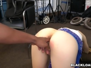 He entered her tight pussy with his 10 inch long black dick and stretched her...