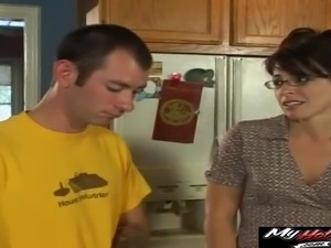 Kitchen blowjob and cock riding with a busty brunette housewife