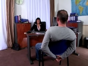 This cougar of a boss makes her employee fuck her in the office